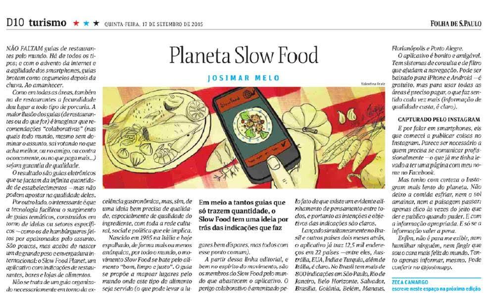 Coluna do Josimar Melo - Folha Comida - Slow Food