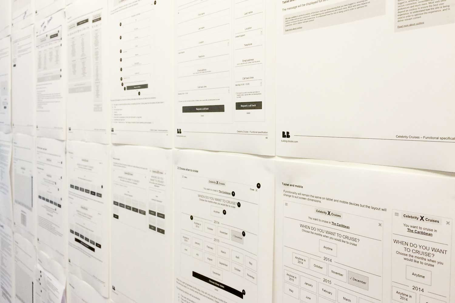 Detailed wireframes from Axure replace the Explore output ready for more work to be done with visual design.