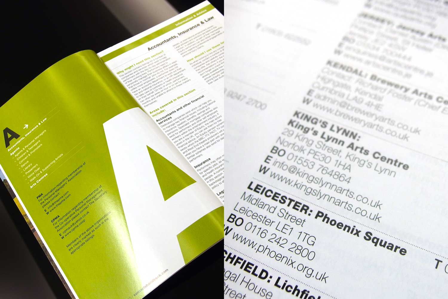 Category page, information and advice / Listings within the printed book