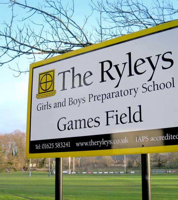 School gamesfield signage.