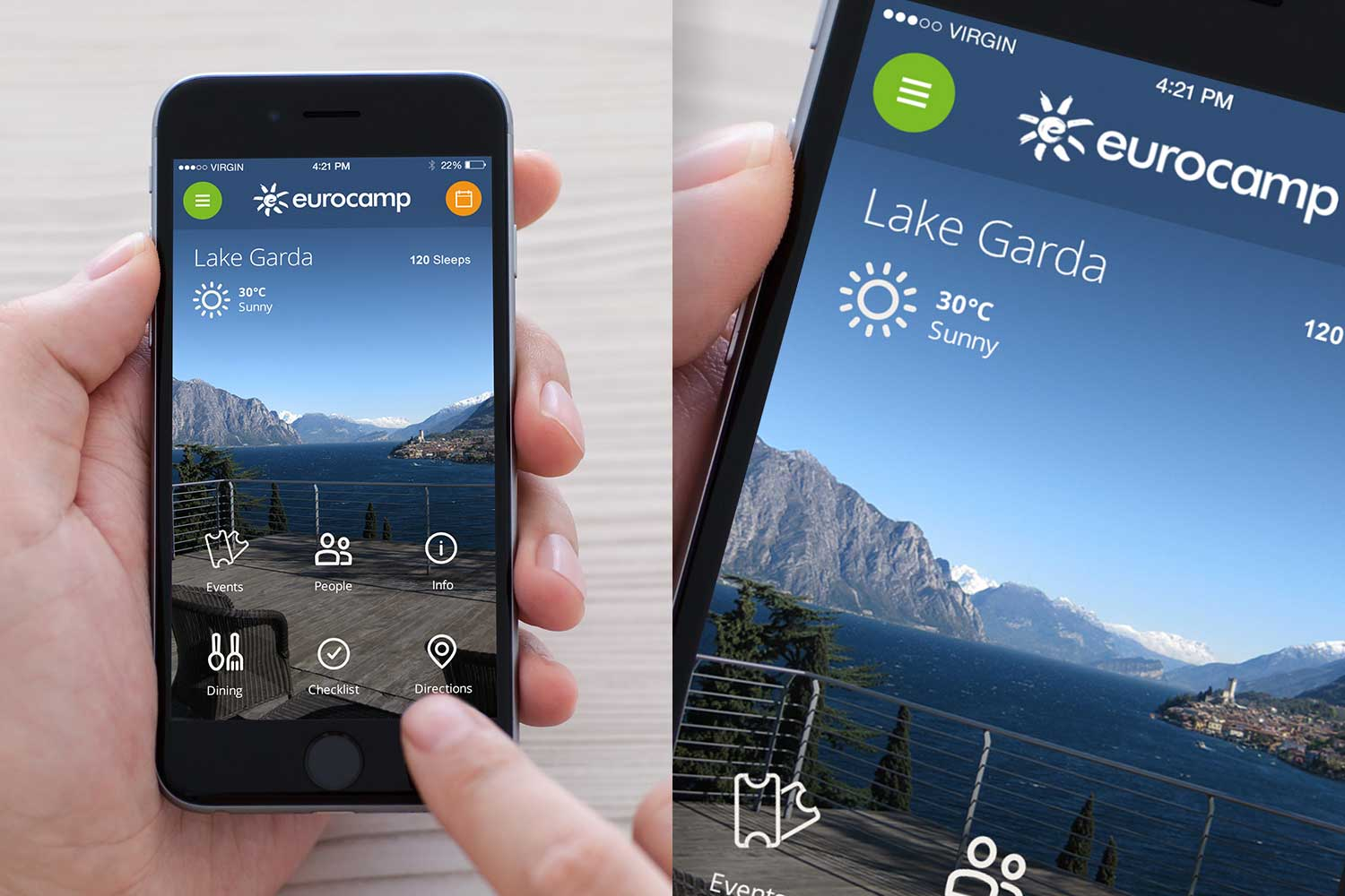 From the home screen they can organise their entire holiday, they also see photography, the weather and a countdown.