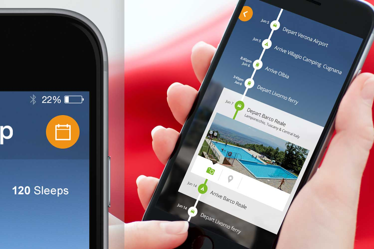 The customer can organise all timings and events on the itinerary planner.