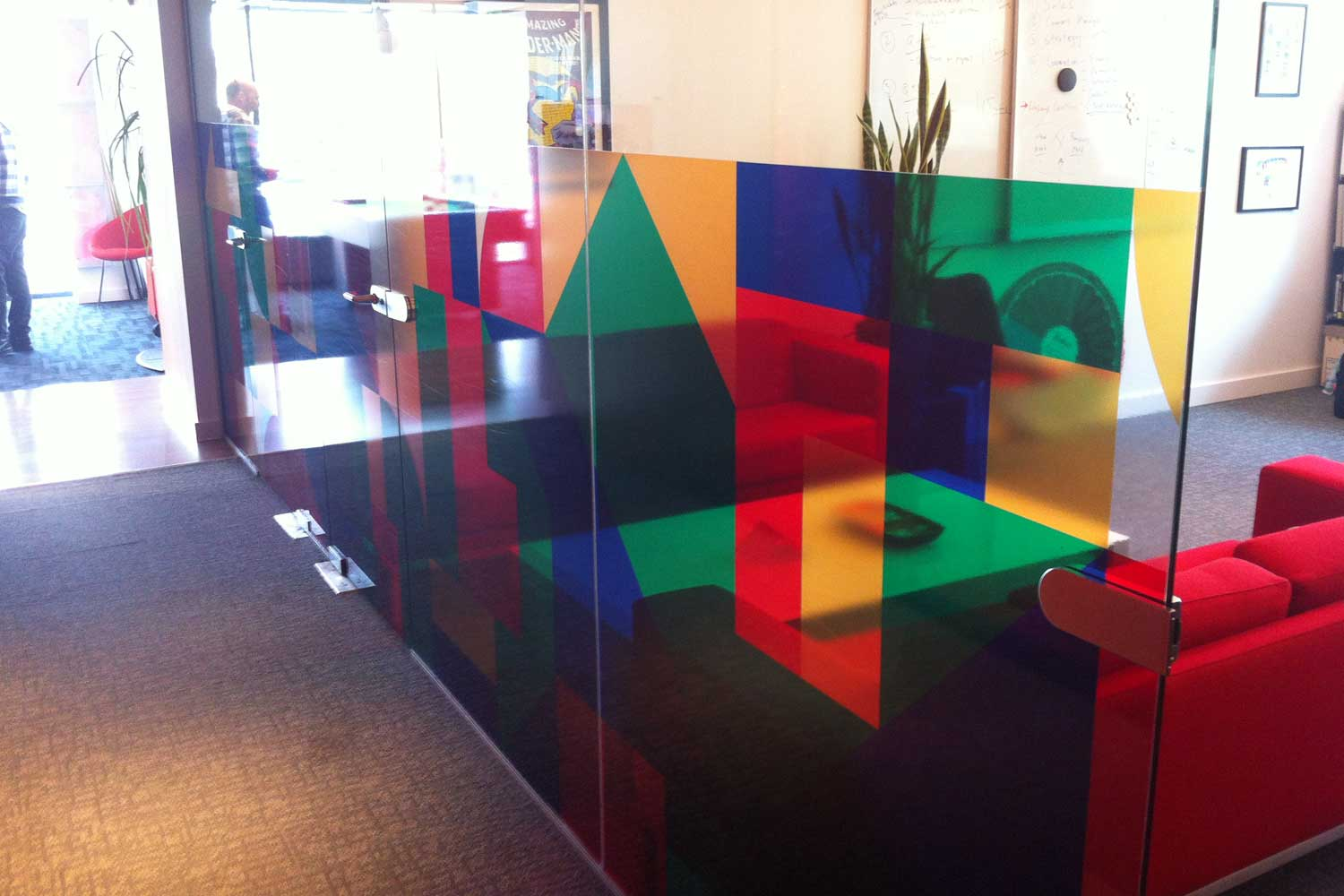 Office -transparent vinyl with printed graphics