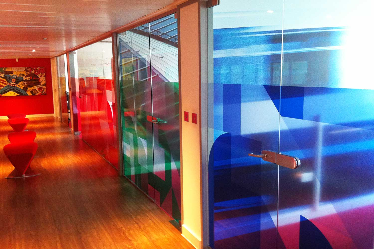 Colour coded meeting rooms -  transparent vinyl with printed graphics