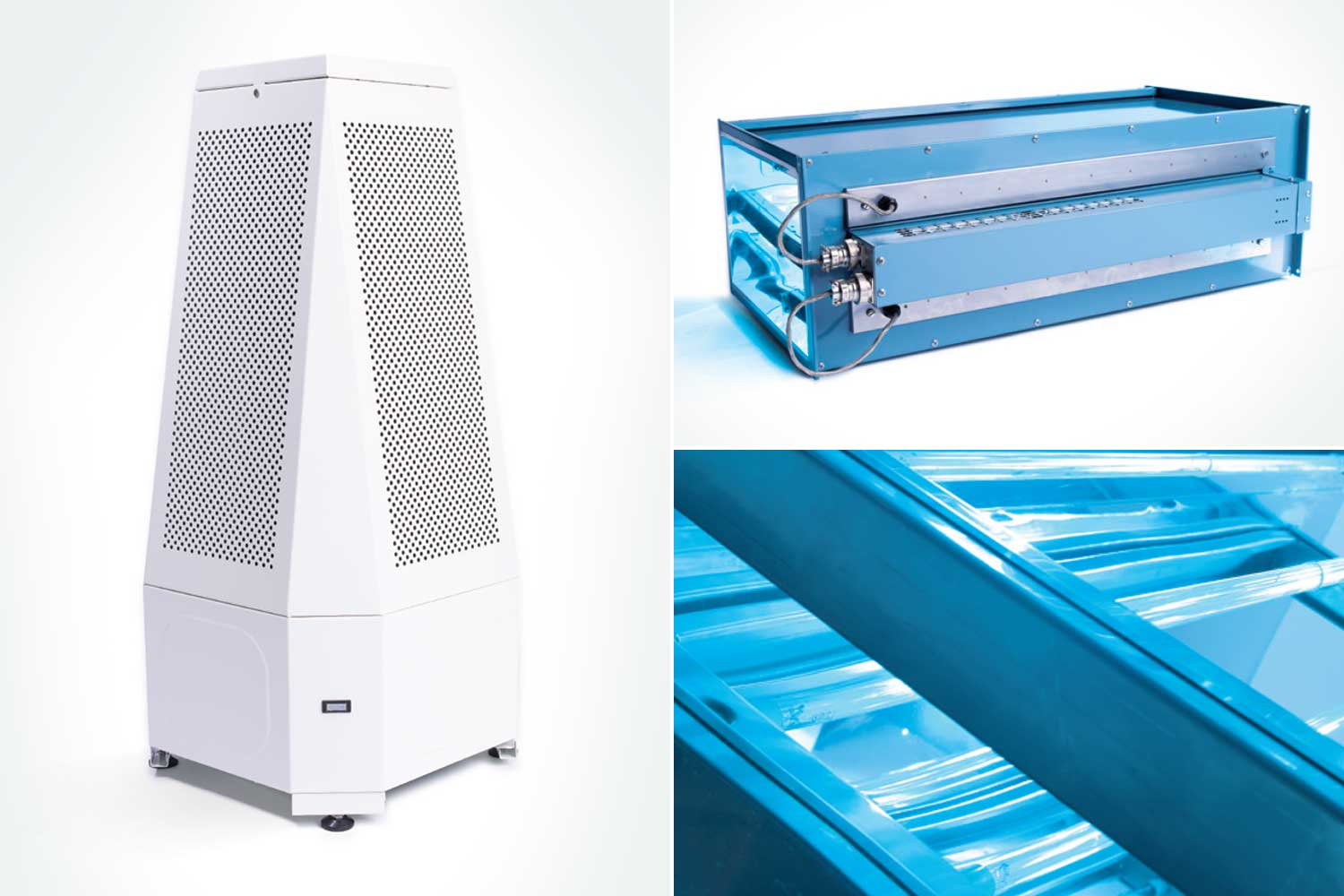 Single room air conditioning unit, top right an in-duct air conditioning unit and bottom right the UV lamps.