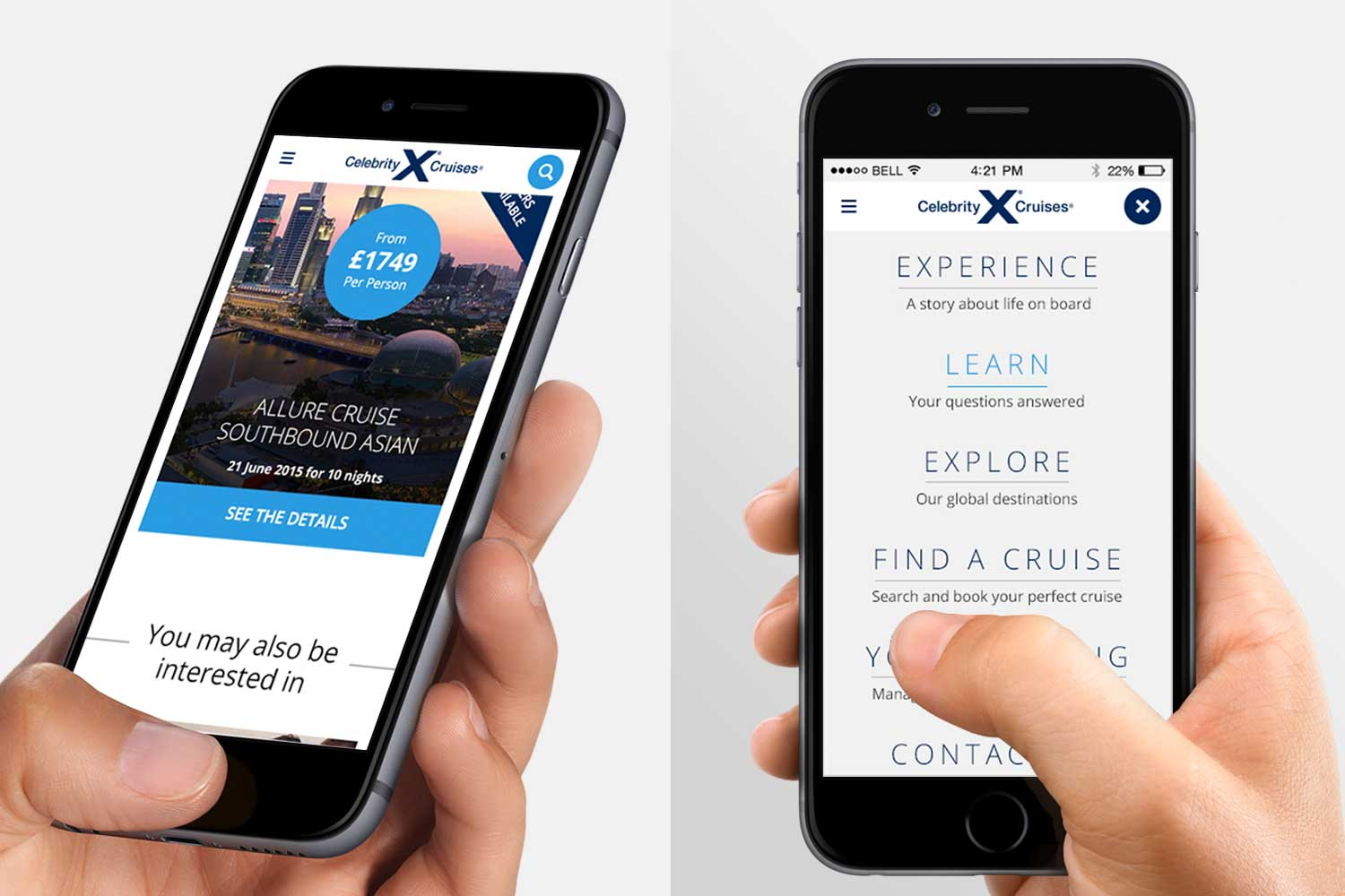 Designed mobile first with use of content cards / Navigation uses whole screen at all breakpoints