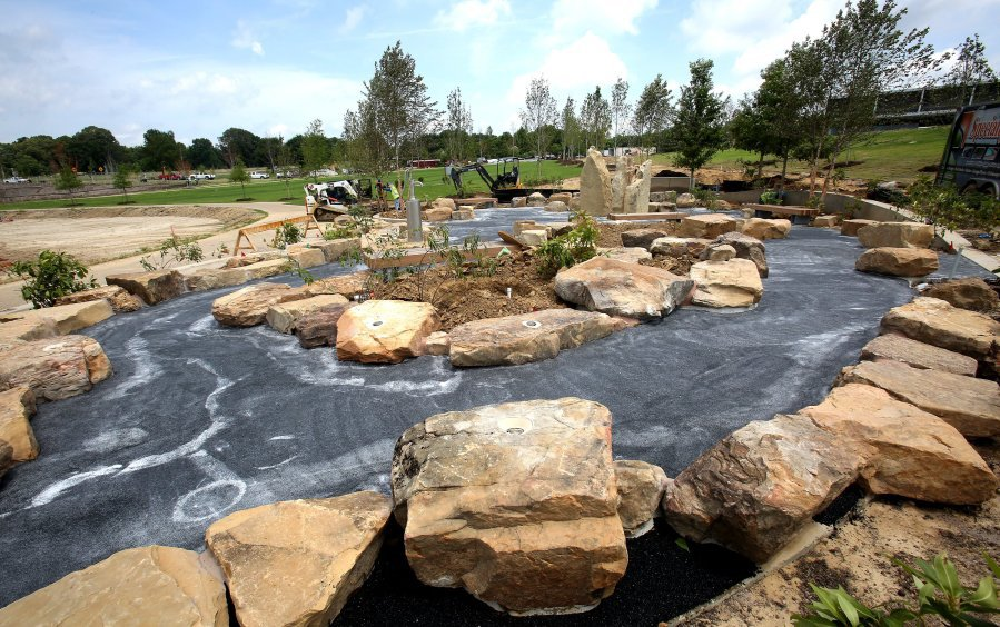 Effort went into making the Water Play Sprayground at Shelby Farms an environmentally friendly place to splash around and cool off. The park's $52 million makeover is nearing completion. (Stan Carroll/The Commercial Appeal)