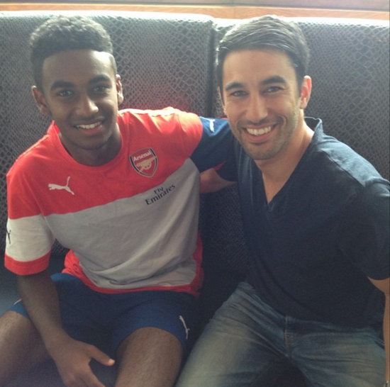 Danny with one of his scouted talents - Gedion Zelalem - who's now 17 and has made his first team debut with Arsenal