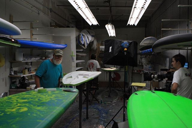 Production photo from our documentary BoardRoom - Legends of Surfboard Shaping.  Subscribe to our youtube channel for more content.  https://www.youtube.com/user/BoardRoomFilms  #surfing #surfboards #shapers #legends #history #documentary #legacy #heritage #hobiesurfboards