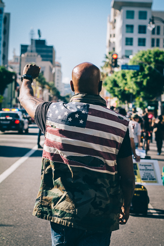 Photo from a peaceful Eric Garner/Mike Brown march in  Hollywood  on    December 6, 2014.