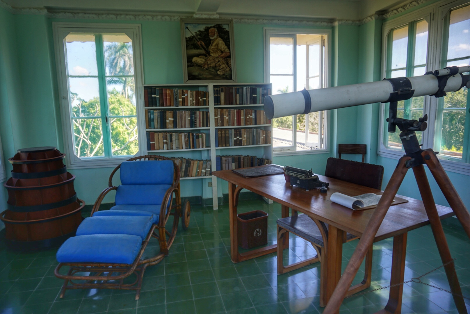Inside Ernest Hemingway's house in the Havana suburb of San Francisco de Paula.