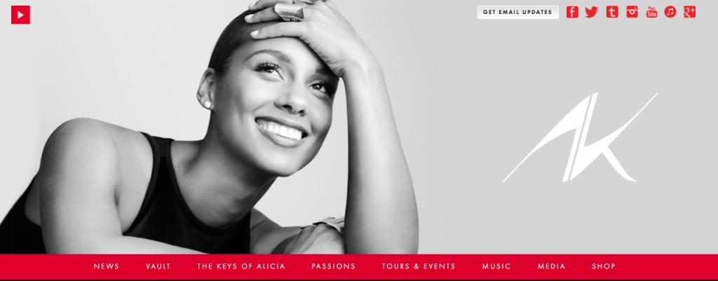 Alicia Keys website_Screen Shot