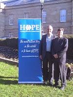 Paul Russell and Alex Schadenberg outside Tasmanian Parliament.