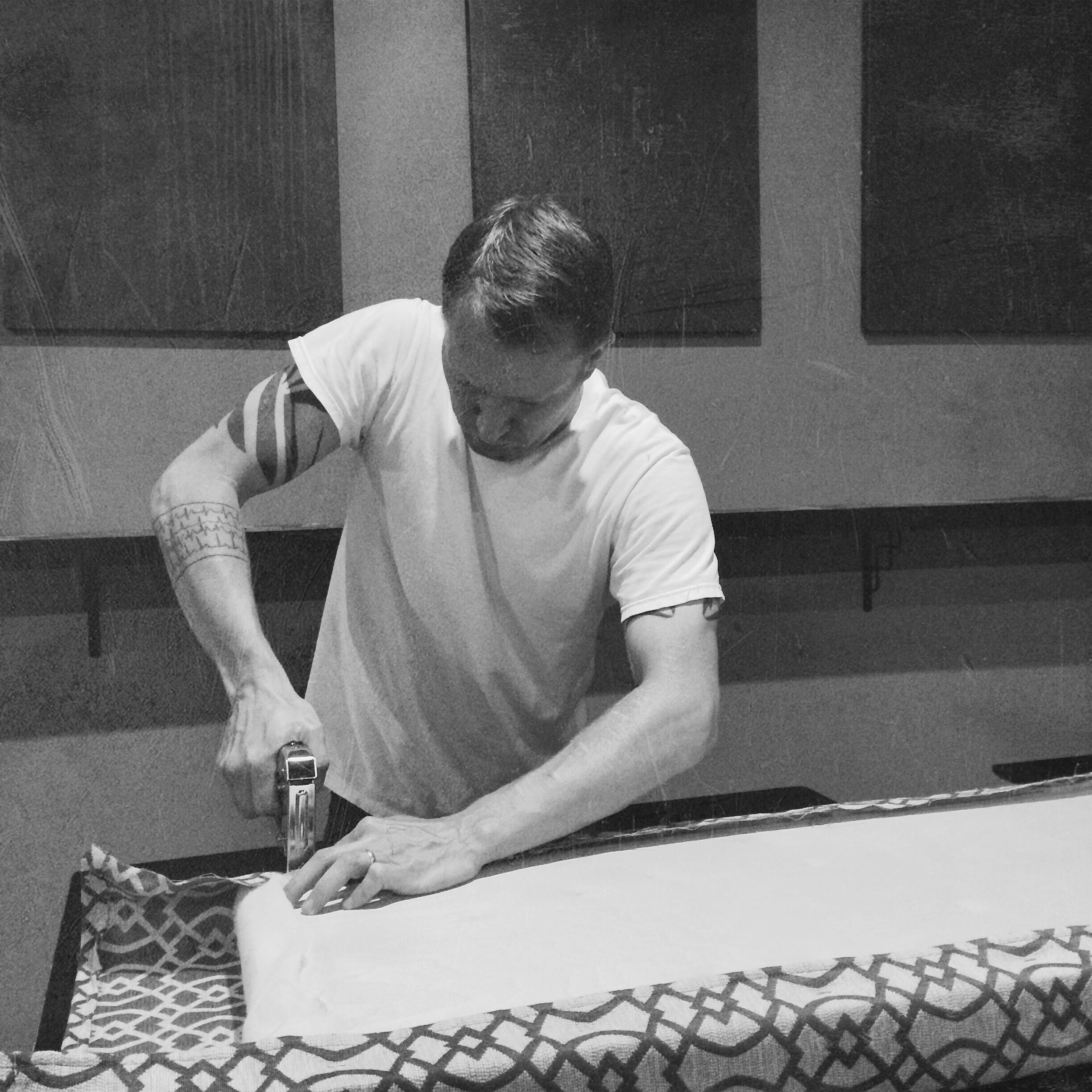 Phillip upholstering the seat cushions. Just about the only choice he didn't make was the fabric… he left that to the ladies.