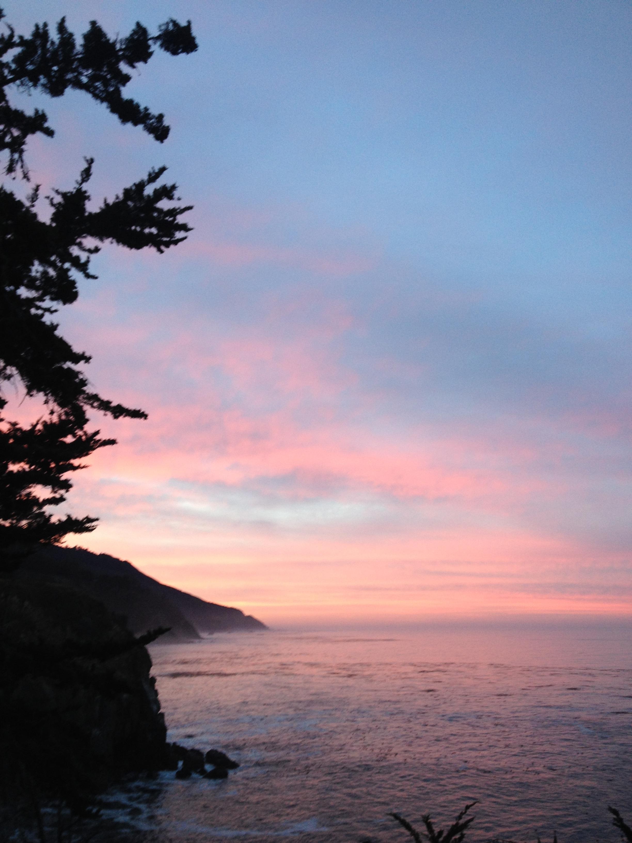 Sunrise over the Big Sur Cliffs. Nov 2013.