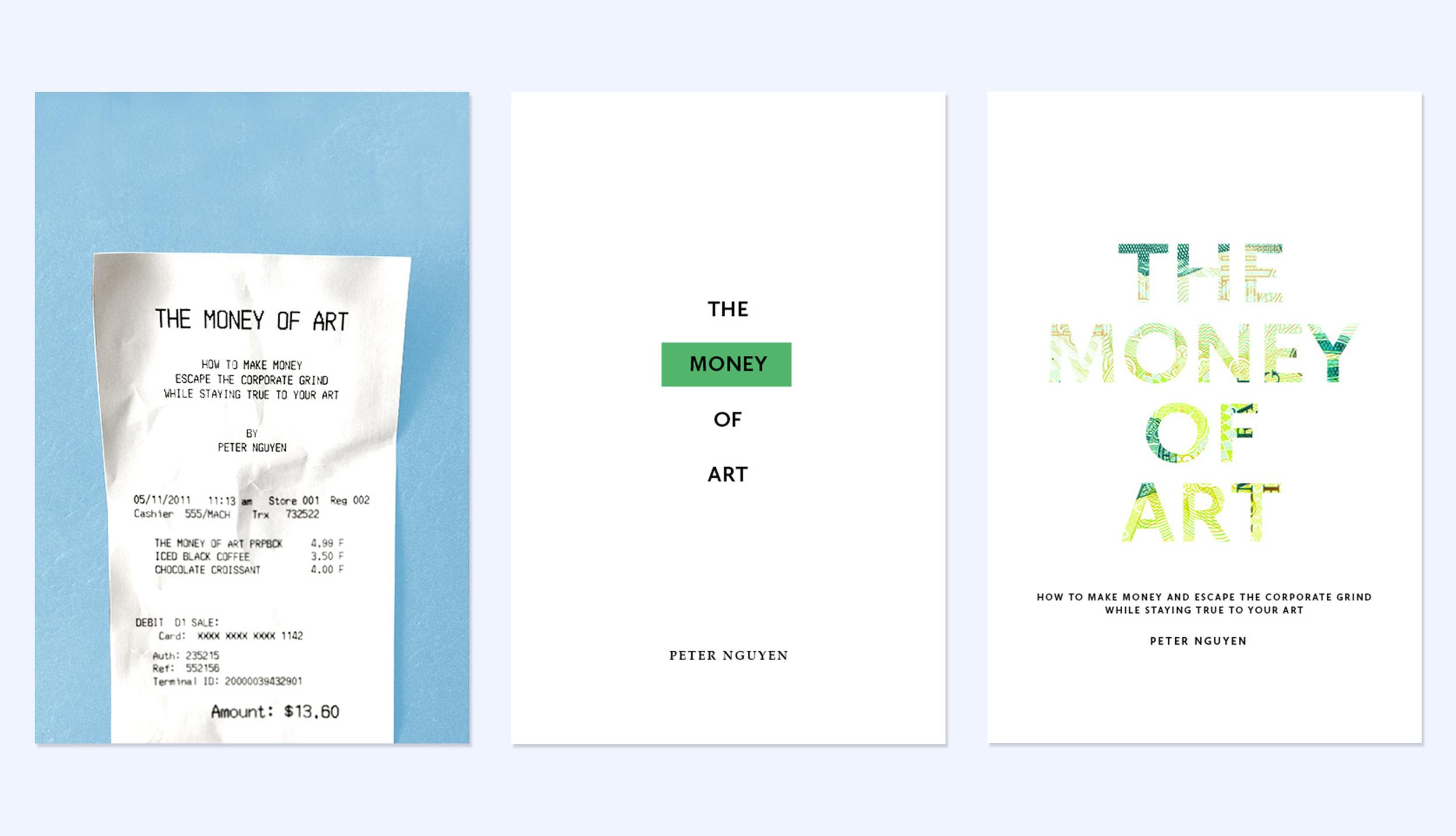 Original cover mockups for  The Money of Art