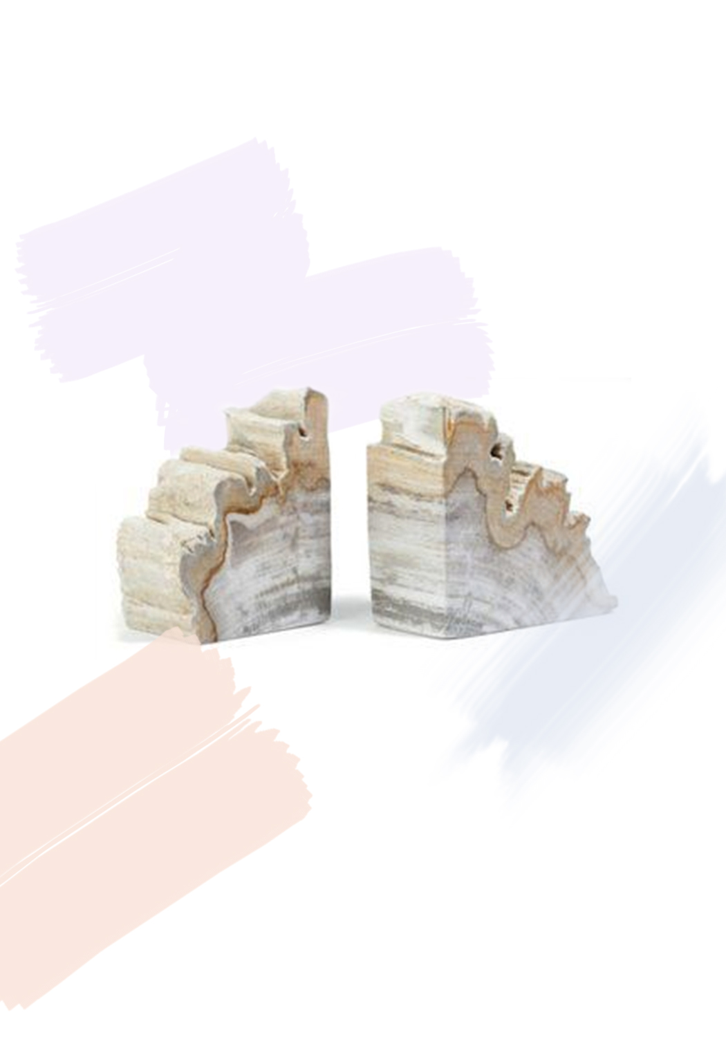 One Kings Lane - Pair of Petrified-Wood Book Ends - $79