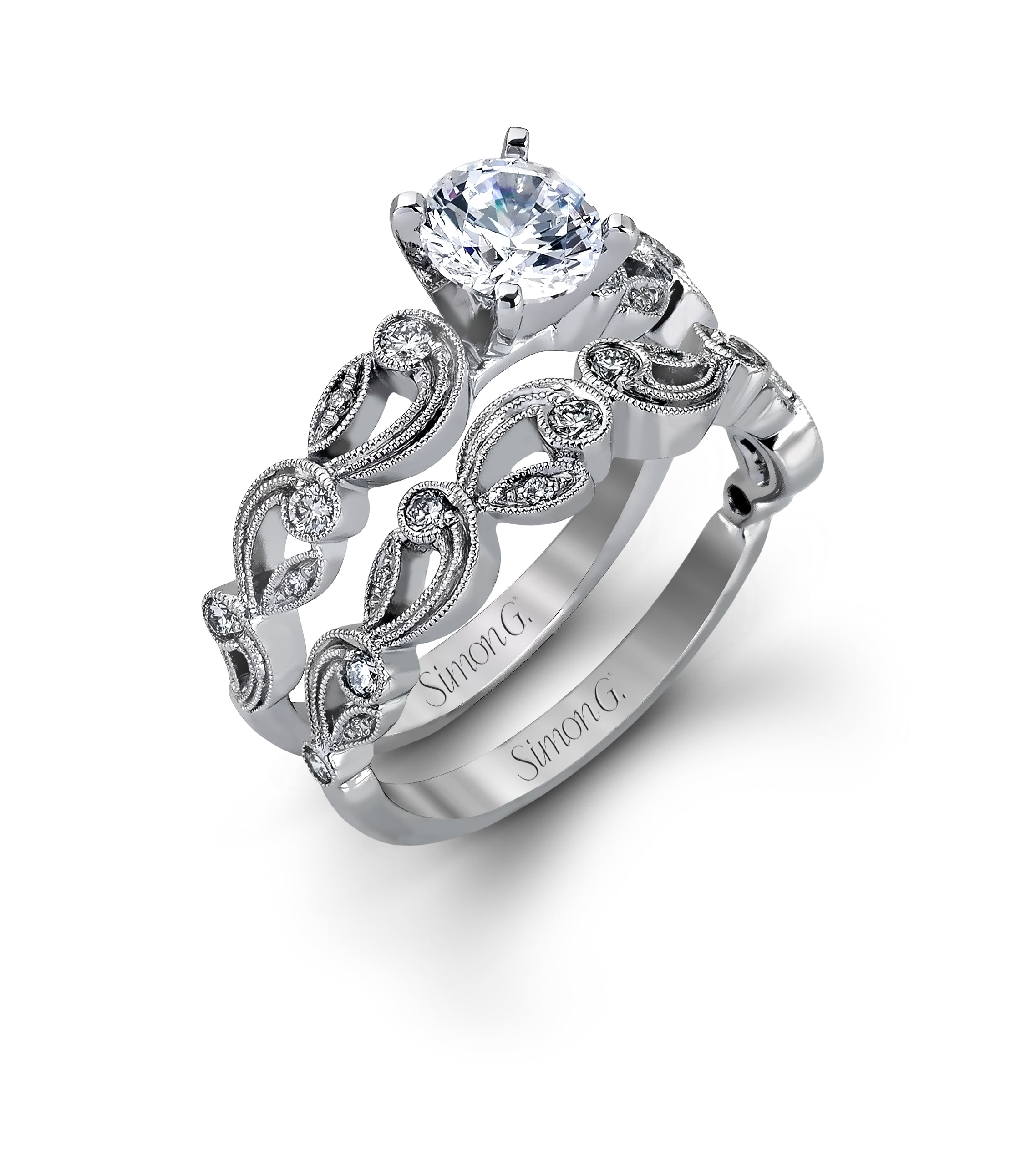 Round engagement set from Simon G. Duchess Collection.