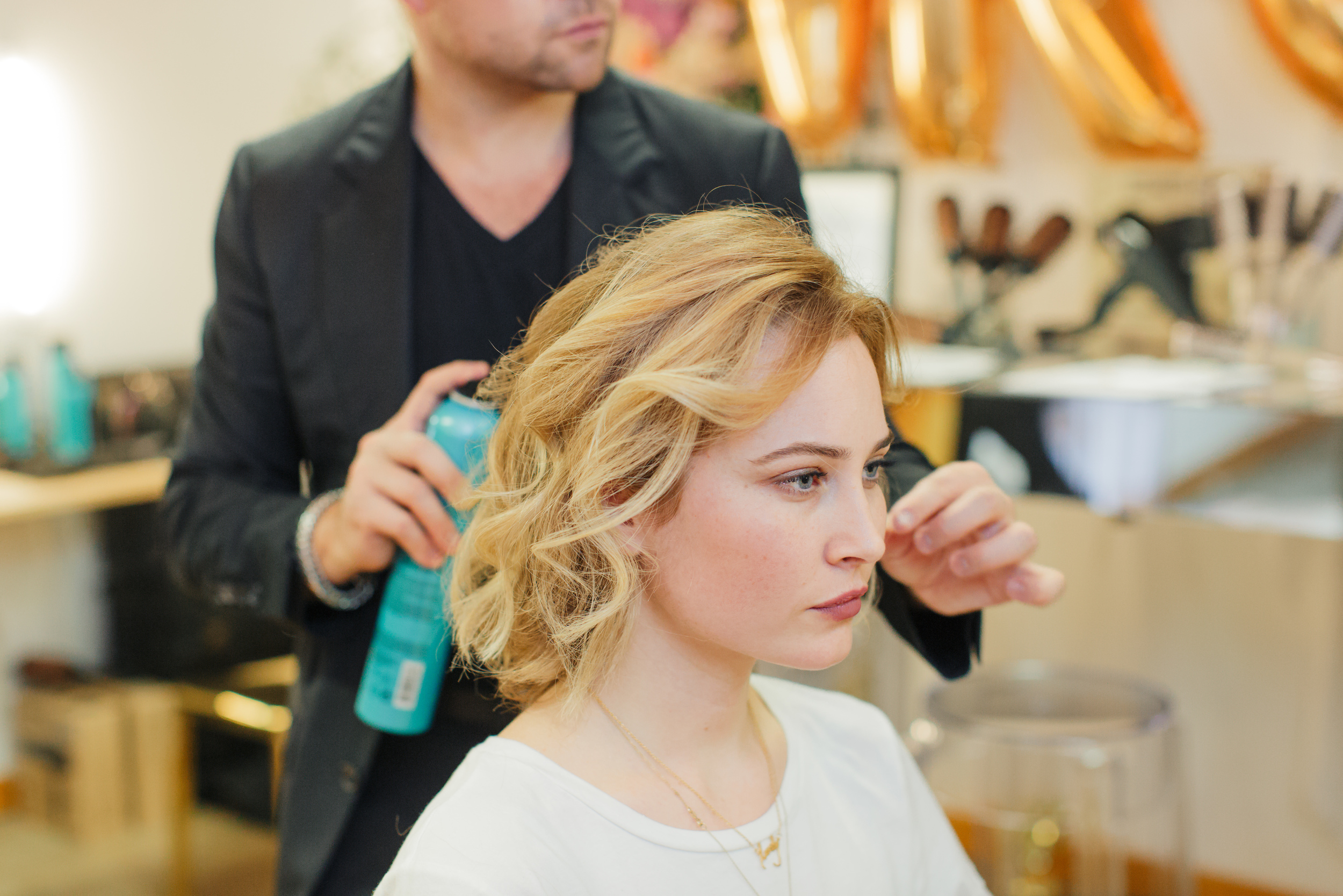 To finish off the look, apply  Matrix Total Results High Amplify Hairspray Flexible Hold Hairspray for extra shine and hold.Lightly mist and finger rake for a full-bodied finished style.
