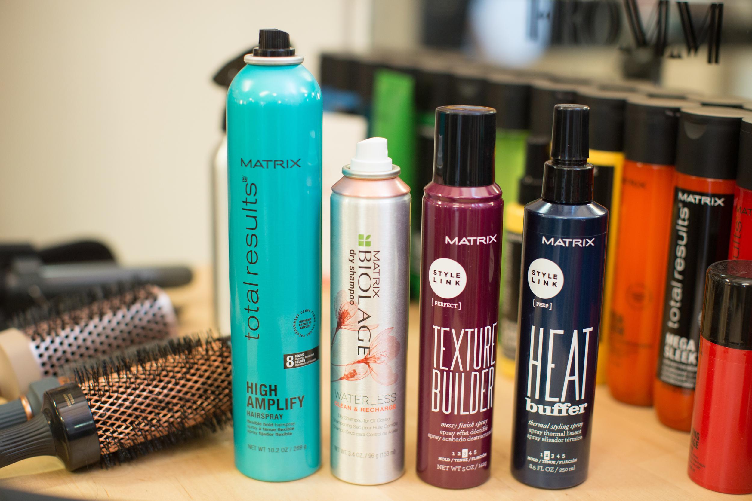 Left to right:  1.  Matrix Total Results High Amplify Hairspray Flexible Hold Hairspray   2.  Matrix Biolage Waterless Dry Shampoo   3.  Matrix StyleLink Texture Builder   4.  Matrix StyleLink Heat Buffer