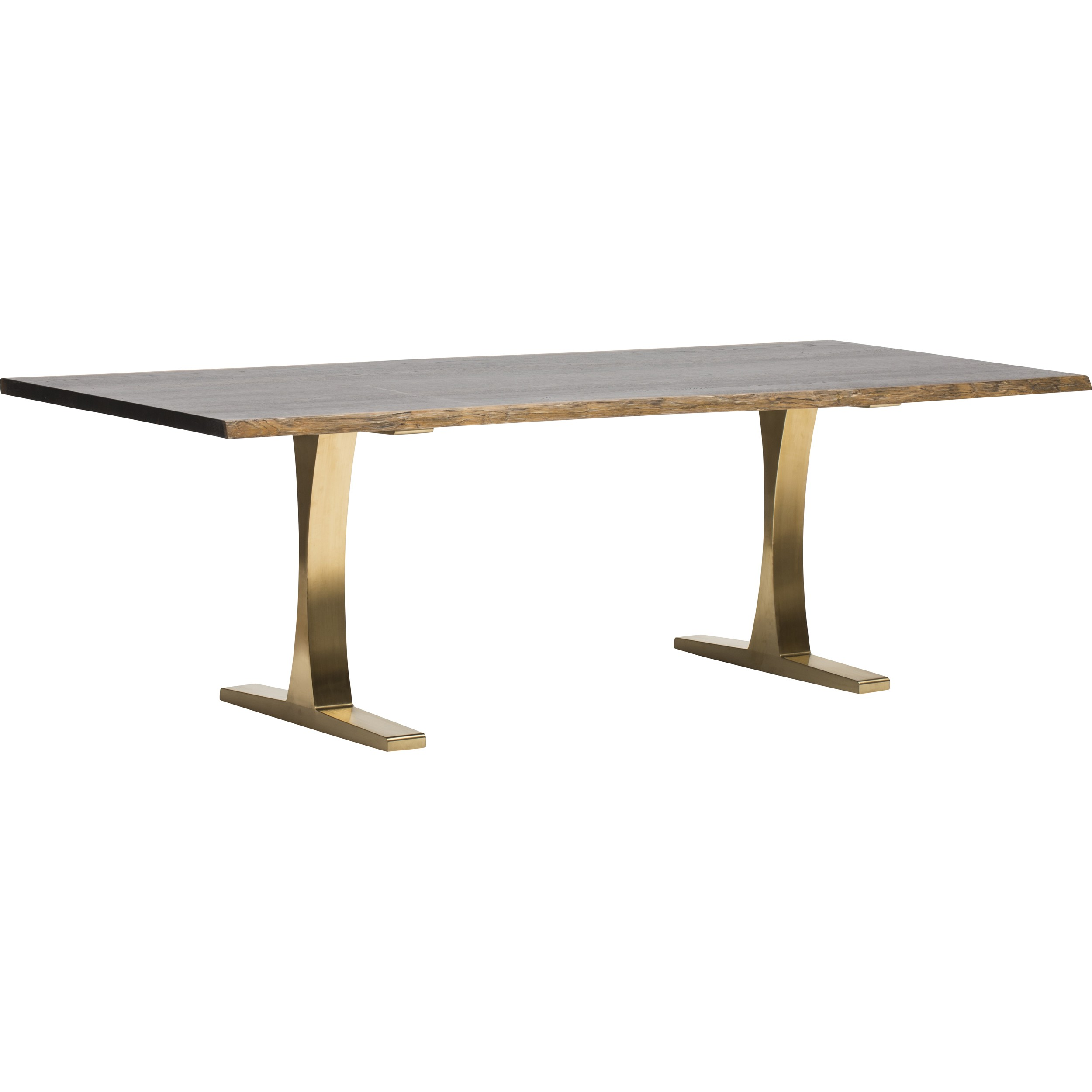 Toulon Dining Table, Brushed Gold, $2,599.