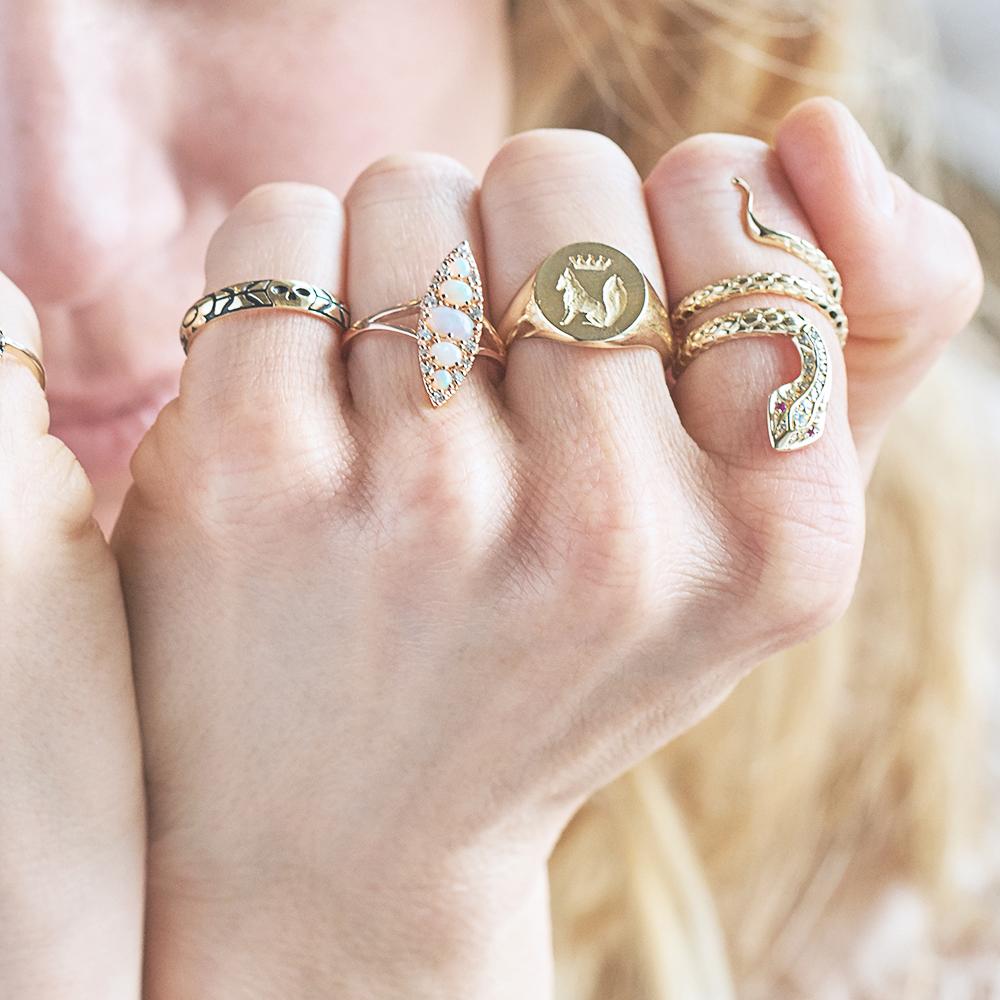 Stone Fox Bride14K Yellow Gold Skull Ring