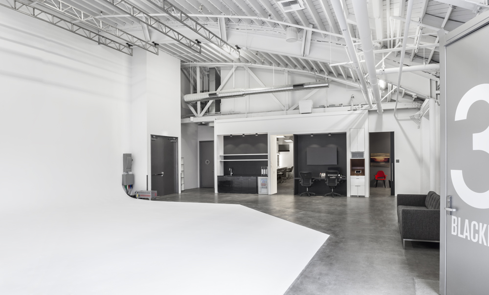 Studio 3: Blackbox boasts a large corner cyc and 22' ceilings complete with a grid making it an ideal space for film and photo shoots.