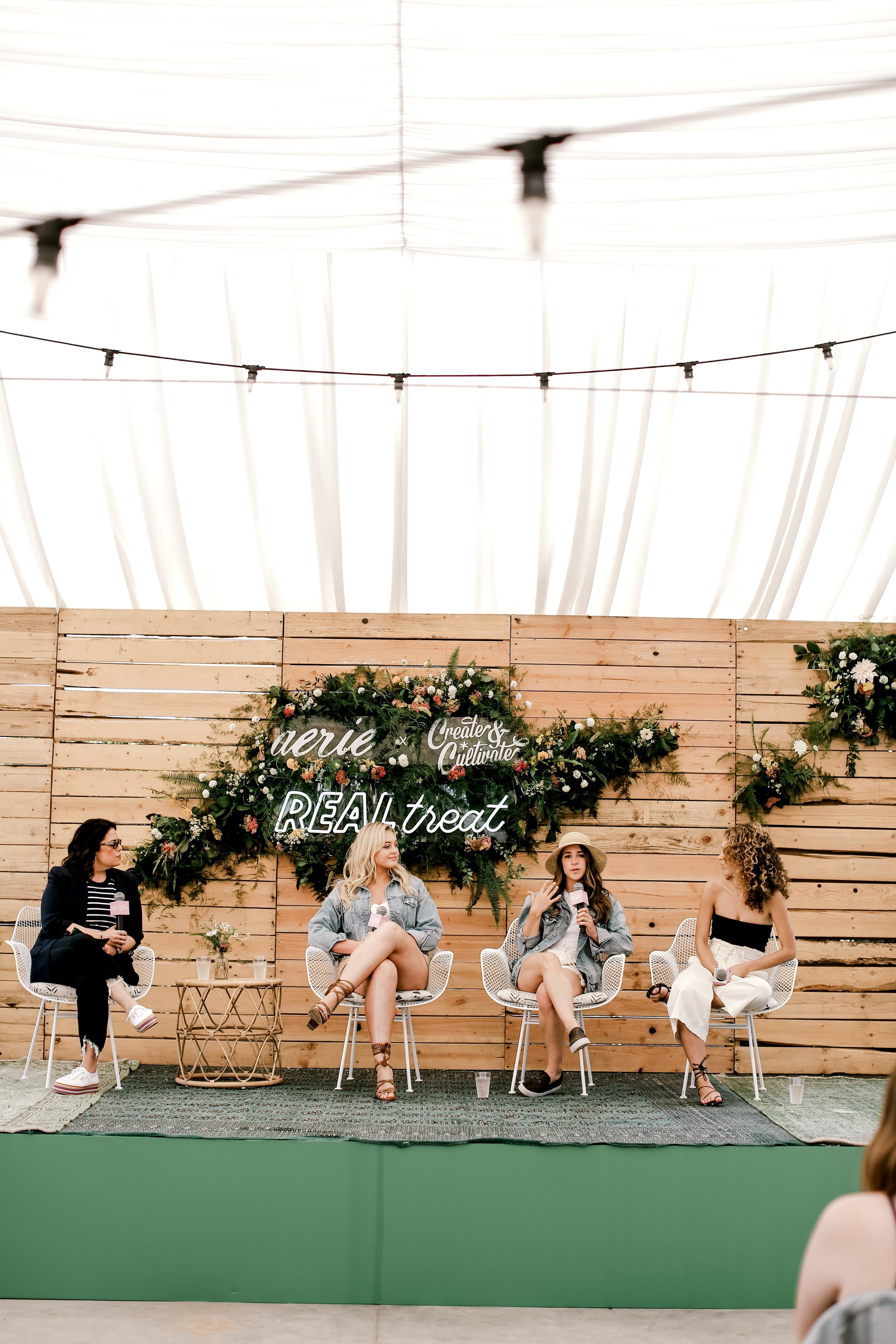 The panel discuss the concept of being real at #AerieREALtreat for Create + Cultivate.