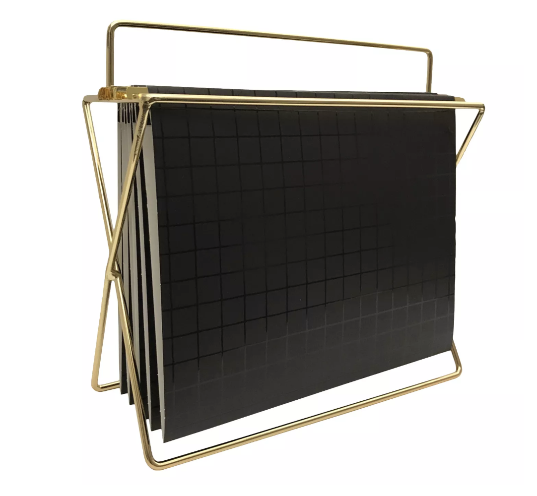 "Project 62 Hanging File Holder with Folders Gold/Black Grid$13 - ""This versatile hanging file is not only mobile, but very functional and stylish, I love the leather file holder on this."""