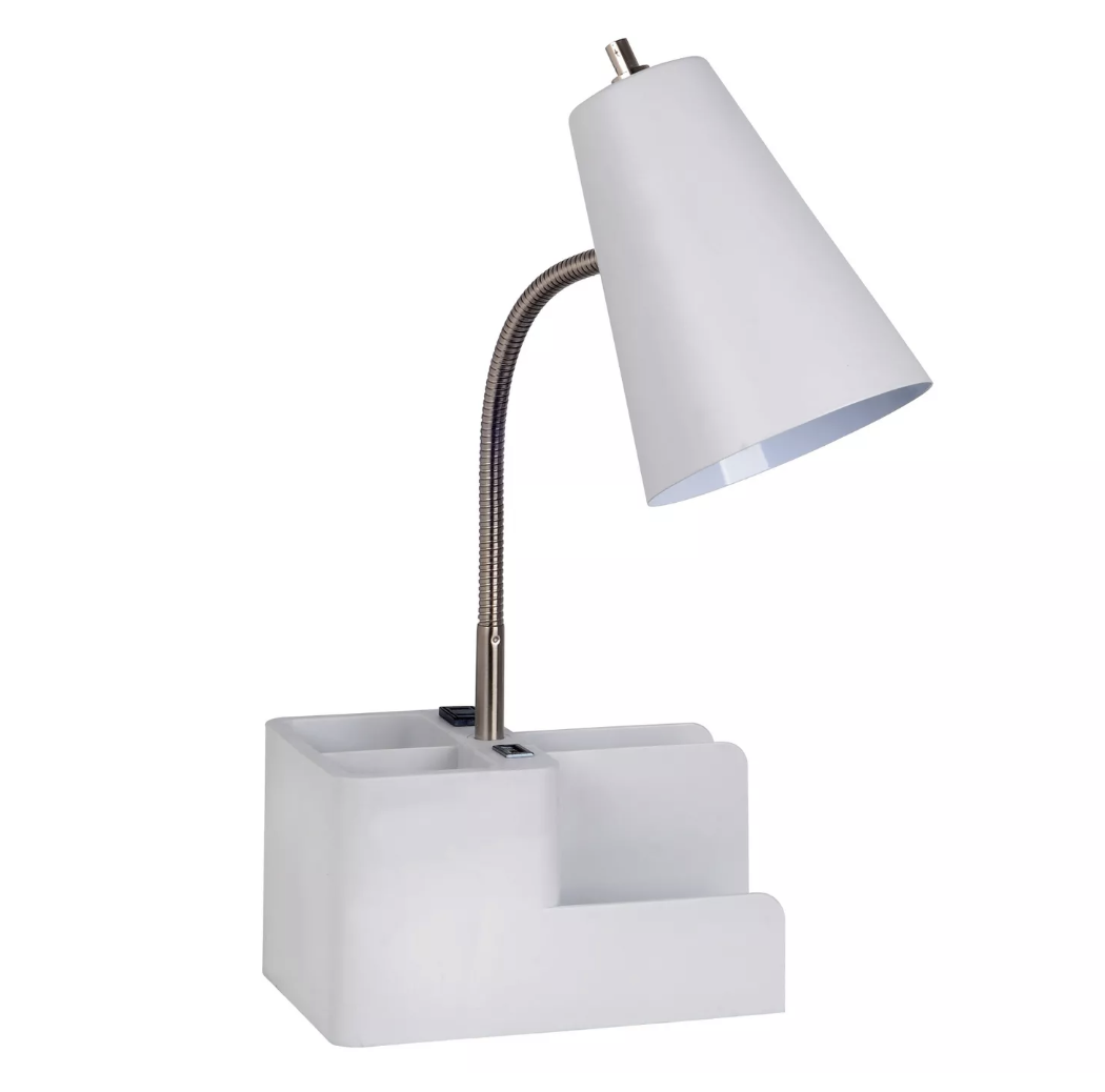 "Room Essentials Organizer Task Lamp$20 - ""This lamp and supply holder does double duty with adding space and organization (in a chic design) to your desk area."""