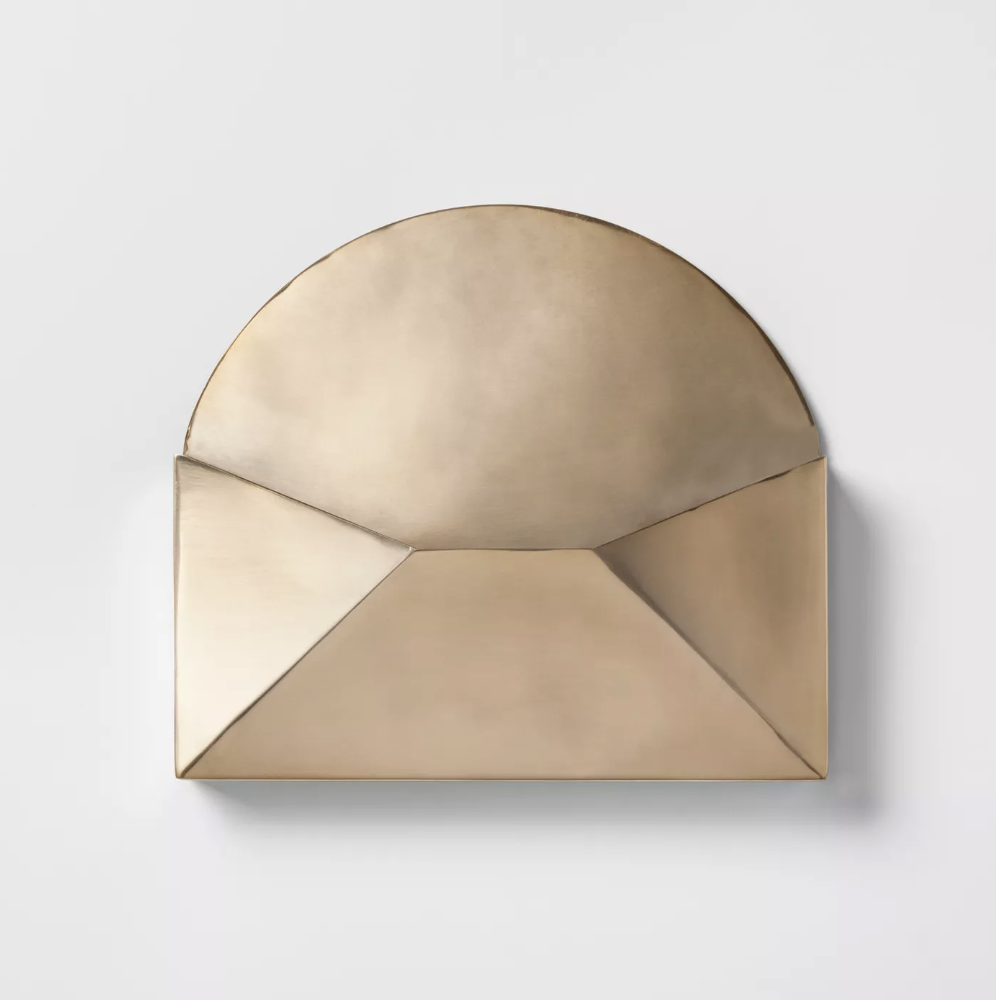 "Project 62 Decorative Gold Envelope$13 - ""For those smaller scraps of paper such as notes, receipts and (gulp) bills, this metal envelope is the cutest catch-all. Who hasn't put that little piece of paper ""somewhere safe"" never to see it again? Those days will be long over with this little beauty."""