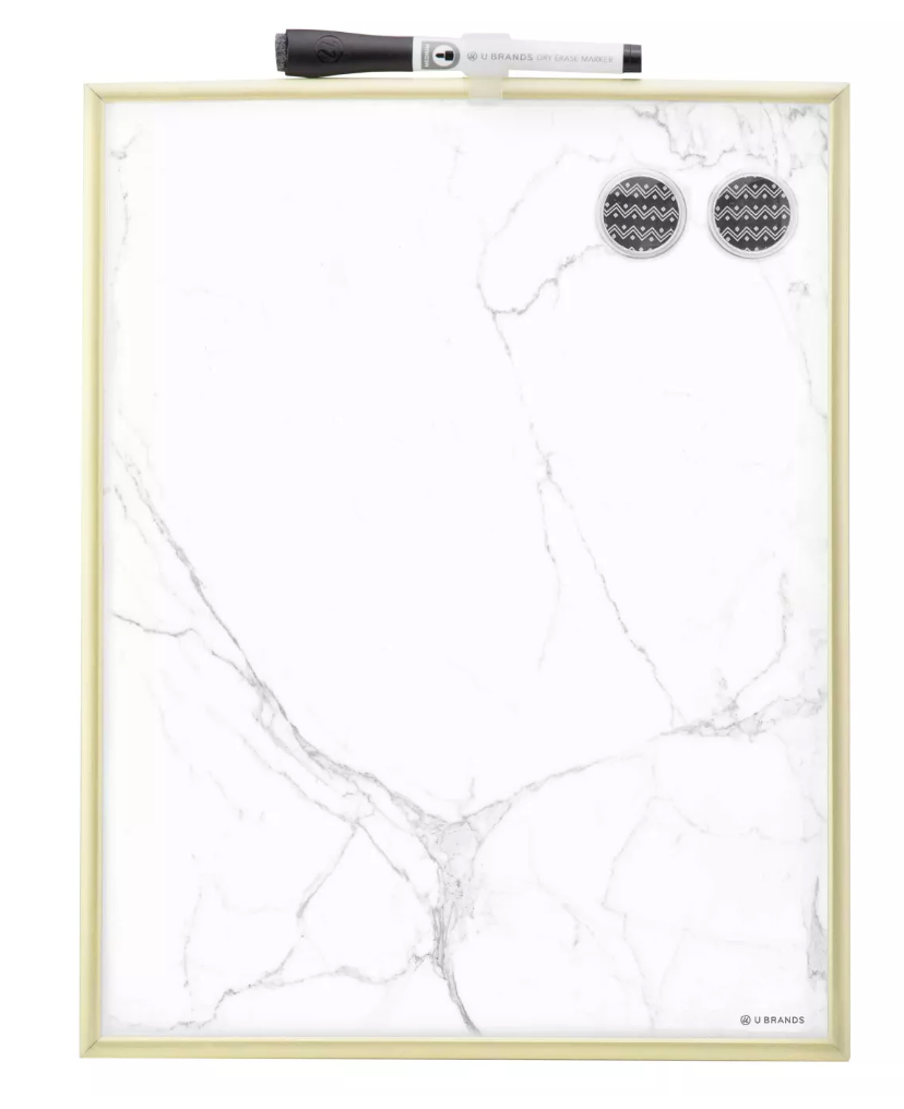"Ubrands Marble Dry Erase Board$10 - ""Using natural materials in a space is one of my design signatures. The allure and grace of marble is simply unmatched. With this marble patterned erase board, you can capture the elegance of the stone, even in the little things. After all, both goal-chasing and beauty lie in the details."""