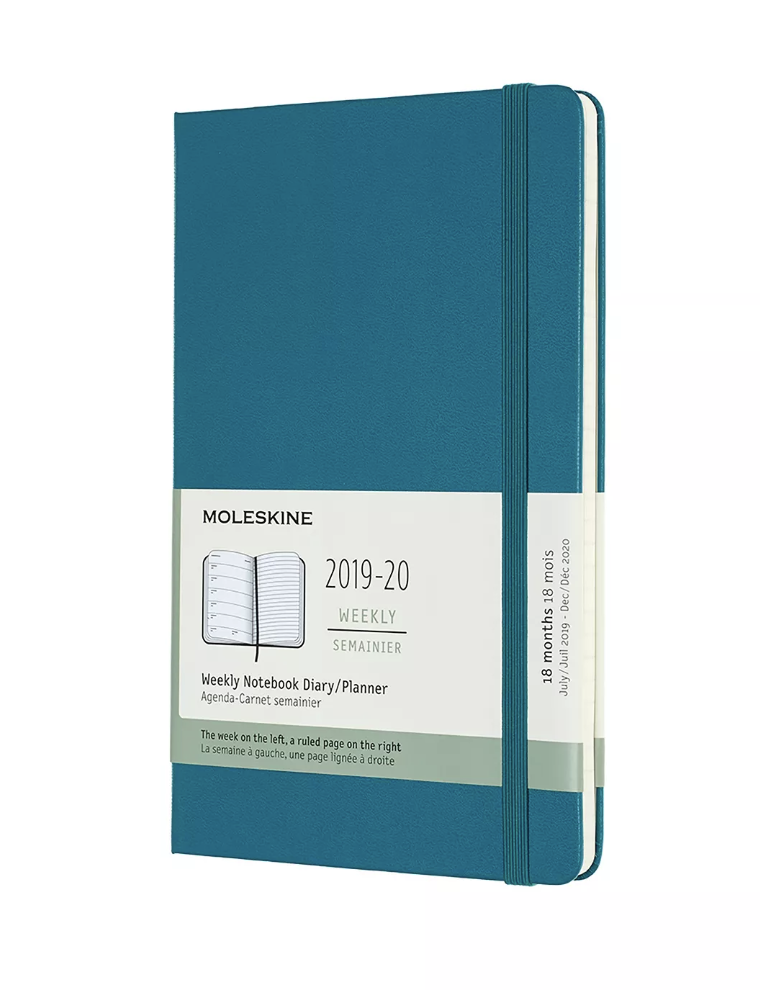"Moleskine 2019-2020 Planner$20 - ""Busy schedules and appointment-filled days call for structure and endless reminders. These Moleskine planners ensure you'll never miss a commitment. They're available in a variety of colors, so you're certain to find one that tickles your fancy. My interior designer's brain insists that even my office supplies align with my aesthetic, so teal is my choice. I never mind the ocean-hued wash of color sprinkled about in my space because it only enhances the gold accents in the office. Gorgeous planners laying on desks and tables unintentionally act as décor."""