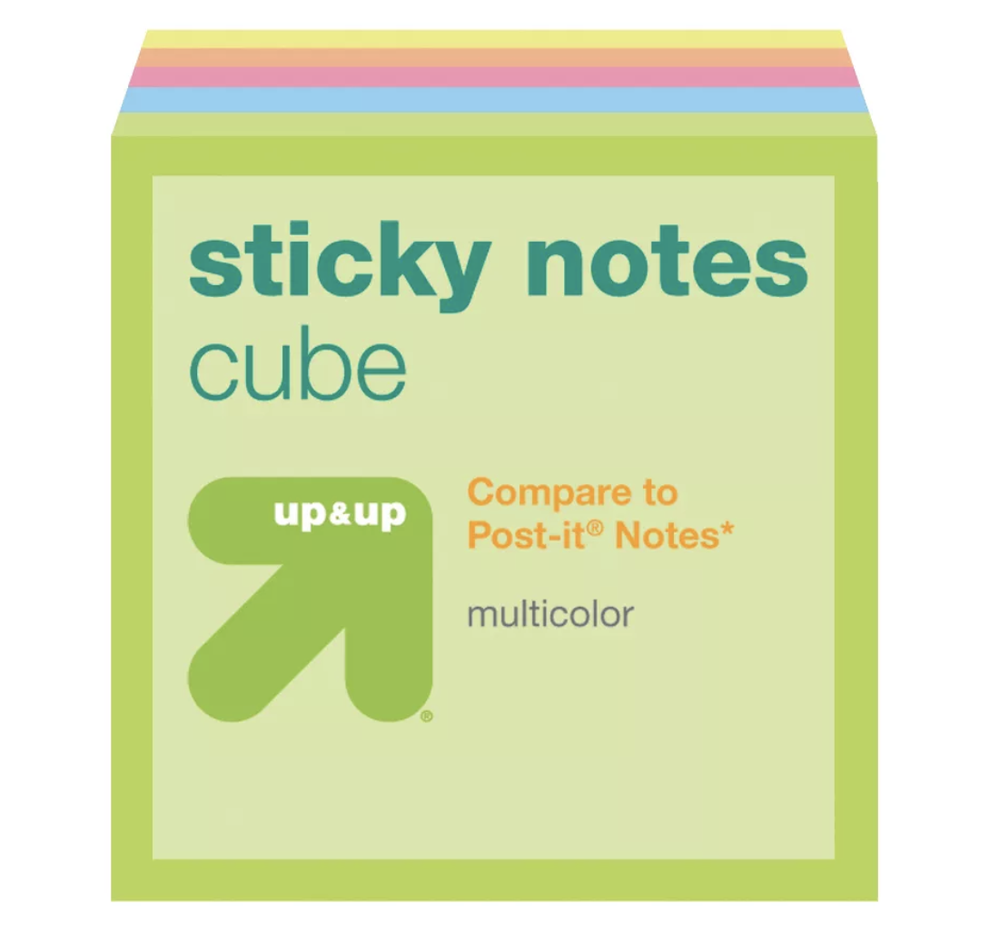 "Up&Up Sticky Notes$3 - ""Multitasking is the name of my game. I tend to transfer ideas from one place to the next, and sticky notes are perfect for that. I love that I can move sticky notes with ease versus tearing paper out and tucking it somewhere I'll never remember. They're small, transferable and brightly colored—all things that help me keep great ideas in sight as I go throughout my day."""