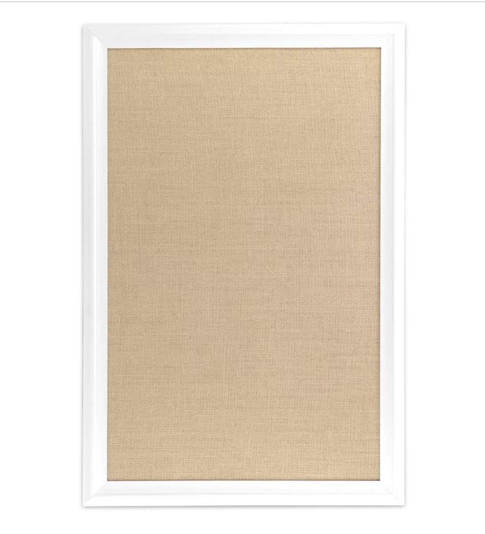 "Ubrands White Wood Frame Burlap Bulletin Board$33 - ""The versatility of this board is what I love. Create an inspiring vision board, post photos of your family, or add your weekly to-do list. This board can be utilized in so many ways and would be a great addition to any home or office space."""