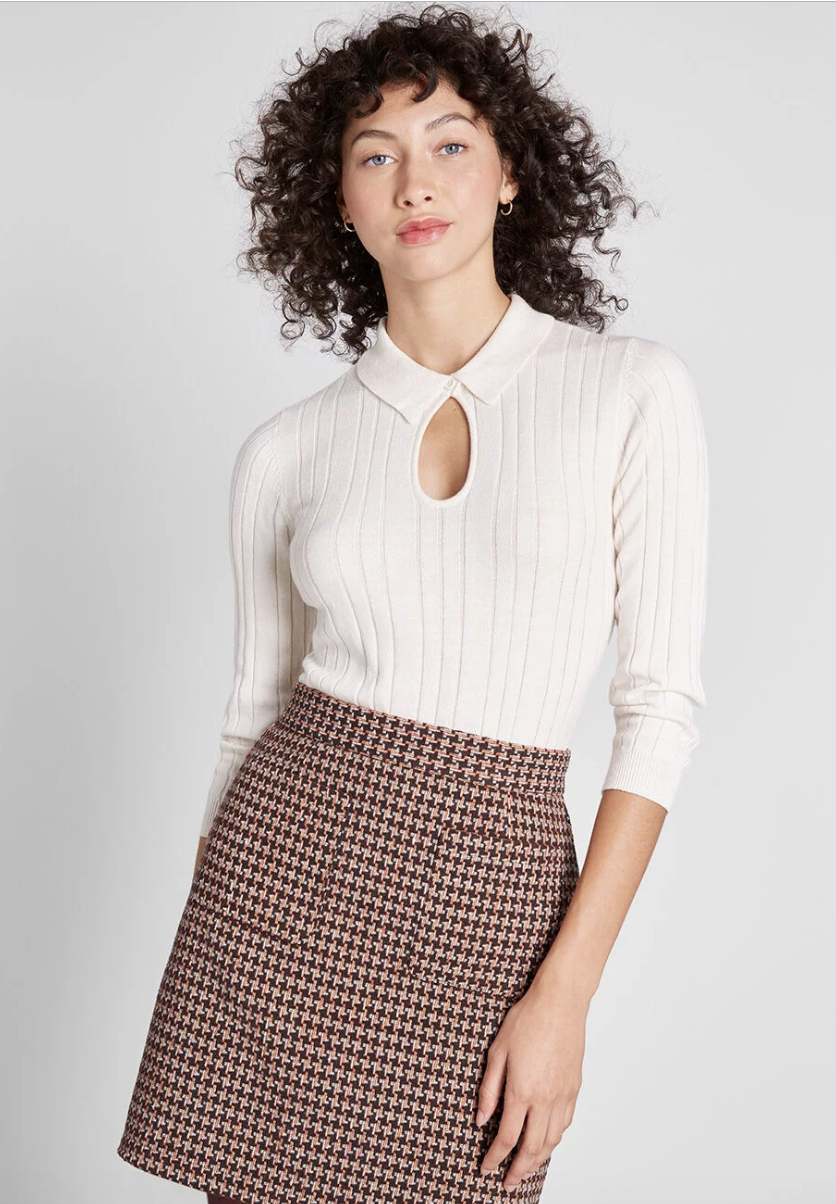 ModCloth Informed Ensemble Skirt$59 - These A-line skirt in the classic houndstooth motif print is the best kind of 70's throwback.