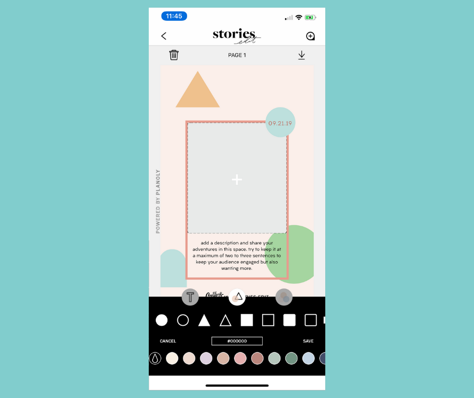 Step 3: - Add any shapes to your template by tapping the Shape tool (the circle and triangle icon) in the center of the navigation bar.
