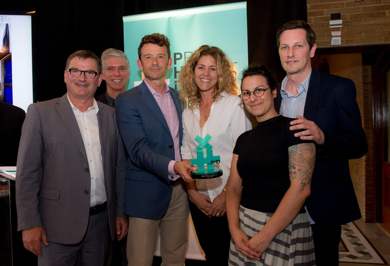 """From left to right,Claude Paquin,editor of """"Formes"""" Magazine,Maurizio Furno, Guidehabitation.ca,Marc-André Roy, president of Sotramont,Stéphanie Cardinal, president of Huma Design, et Sarah Paradis et Martin Pigeon,designers, Huma Design."""