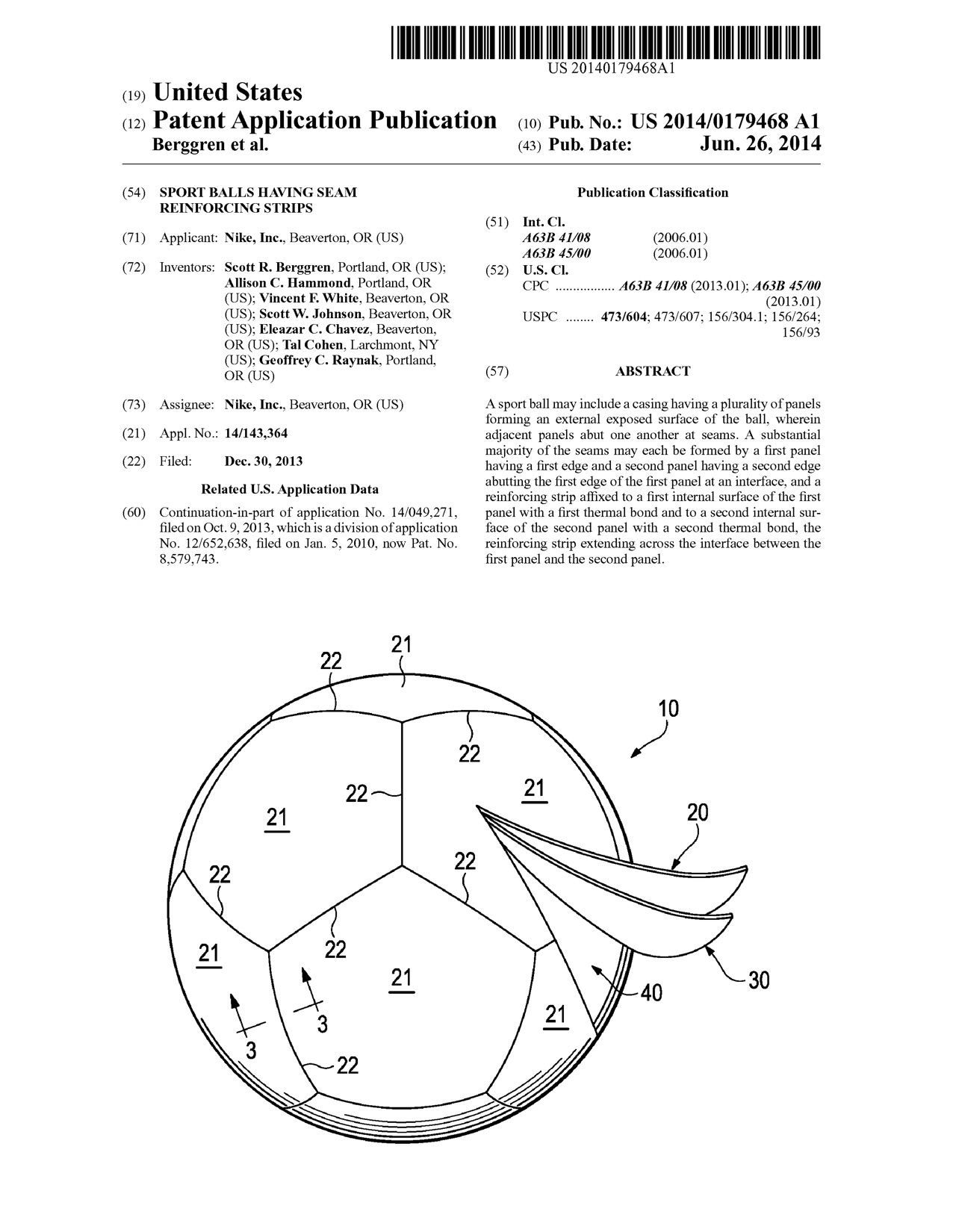 Patent filing for what would become the Nike Ordem ball.