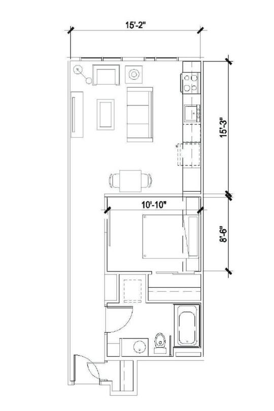 Urban One Bedroom B 580 Sqft -