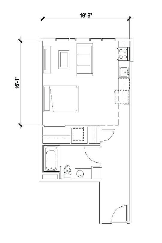 Studio 525 Sqft -