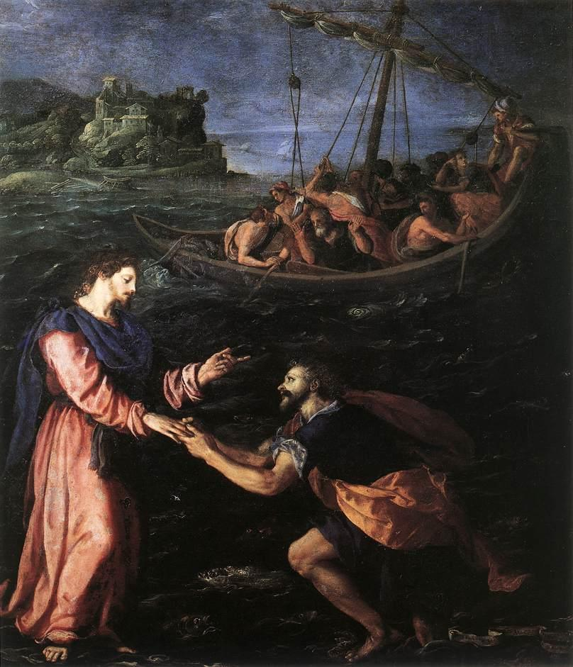 "Allesandro Allori, ""St. Peter Walking on the Water"" (c. 1590), Wikimedia Commons"