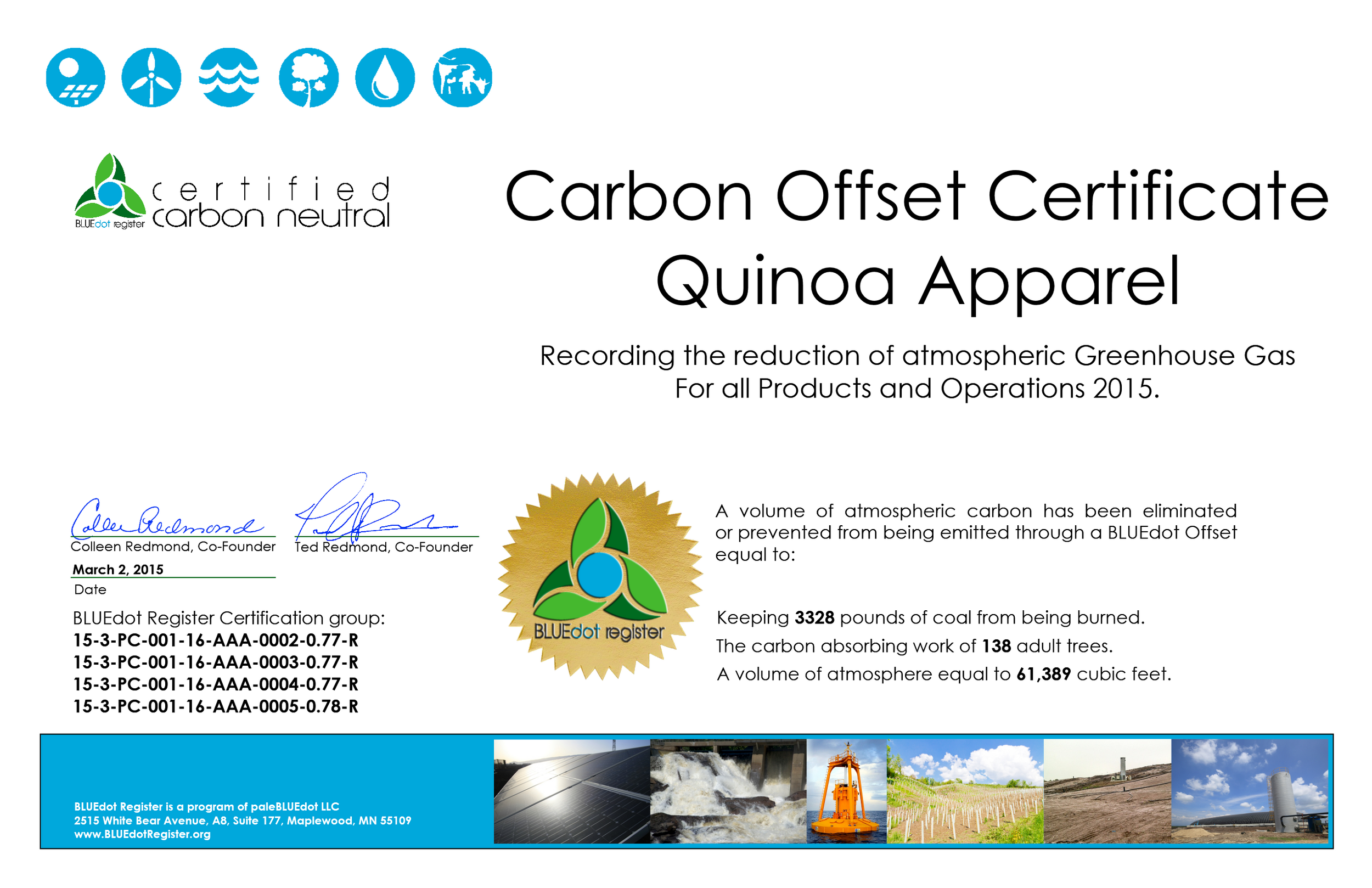 Click image to view Quinoa Apparel Certification