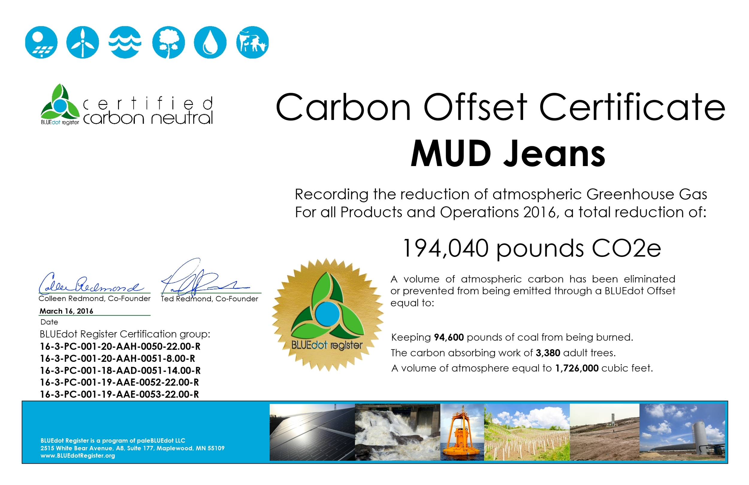 MUD Jeans  2016 Certificate