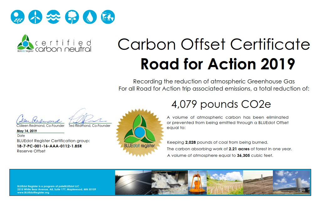 Road For Action 2019 Offset Reserve Certificate