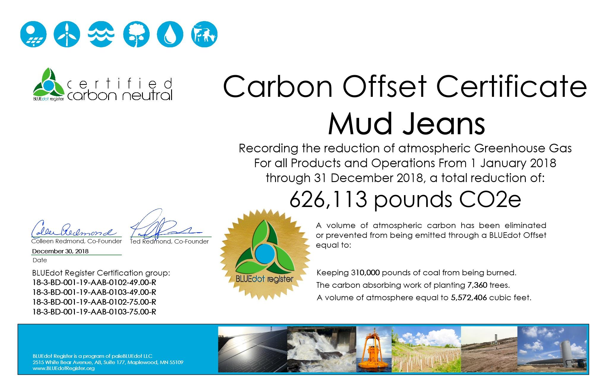 MUD Jeans 2018 Certificate