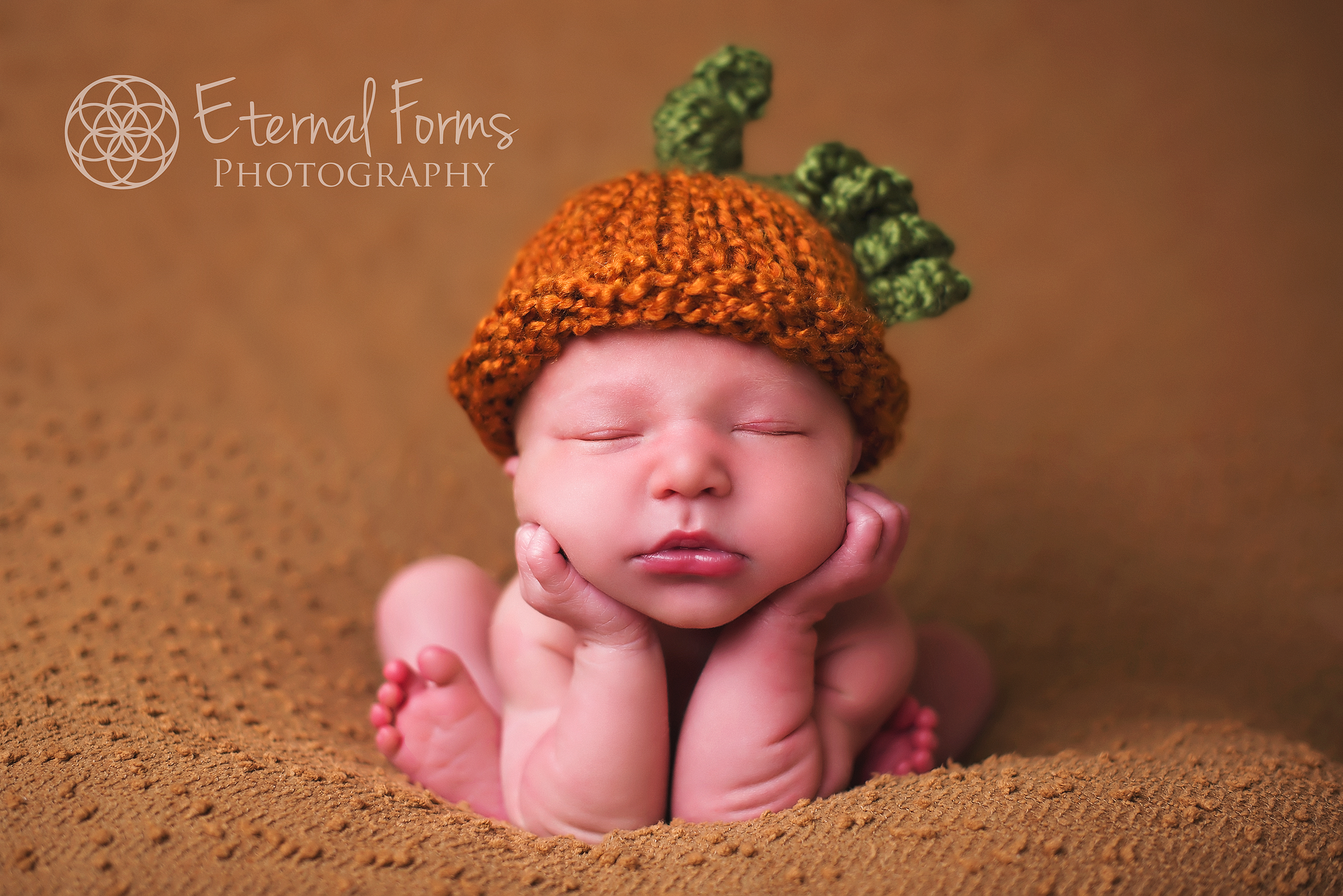 in anticipation for fall, we put a little pumpkin hat on our little nephew