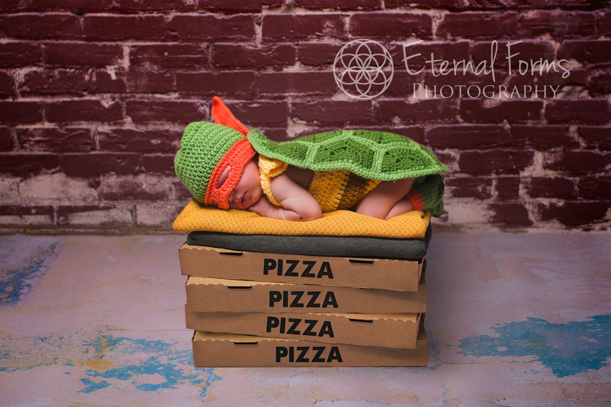 And what an adorable new TMNT he makes!  No doubt he's dreaming of a warm stack of fresh pizzas!