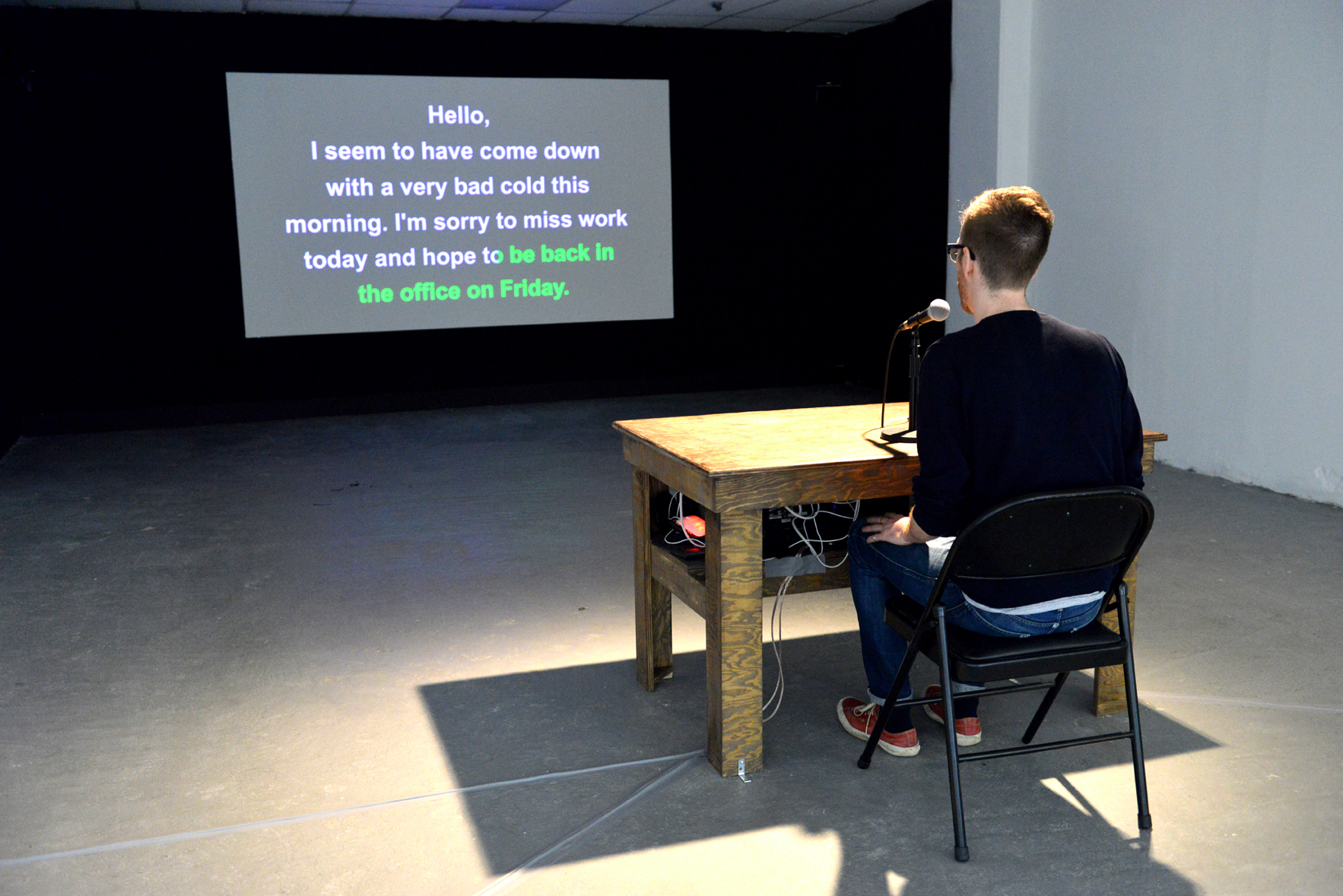 In this installation Bambitchell invites viewers to playfully participate by taking the language test themselves - in the performative style of karaoke. In doing so they are required to follow a set of rigid rules and cues that tell them when to speak and when they must remain silent. The results of the tests are recorded, stored and played back throughout the course of the exhibition.