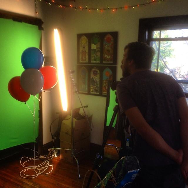 Directing balloons on very little sleep.